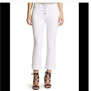 William Rast Lace Up Flare Crop White Jeans 30
